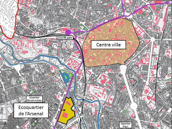 Dijon Ecoquartier de l'Arsenal Situation SPLAAD